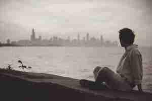 Boy looking at city